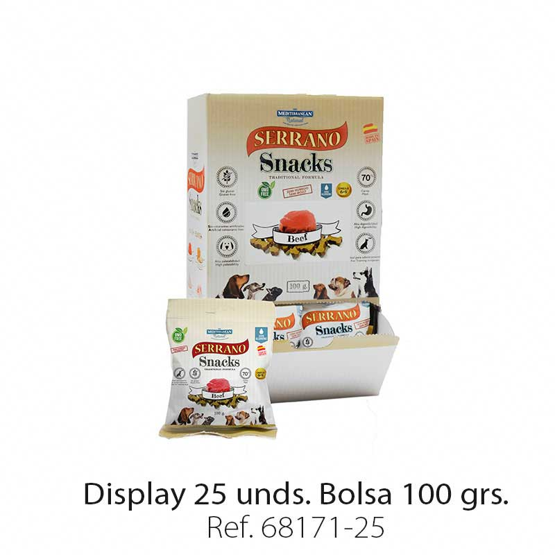 Display 25 bolsas Serrano Snacks buey para perros Mediterranean Natural