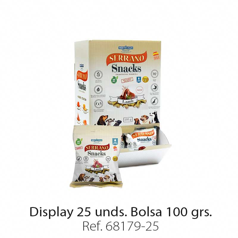 Display 25 bolsas Serrano Snacks cordero para perros Mediterranean Natural