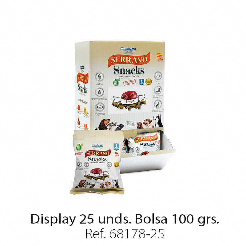 Display 25 bolsas Serrano Snacks hígado para perros Mediterranean Natural