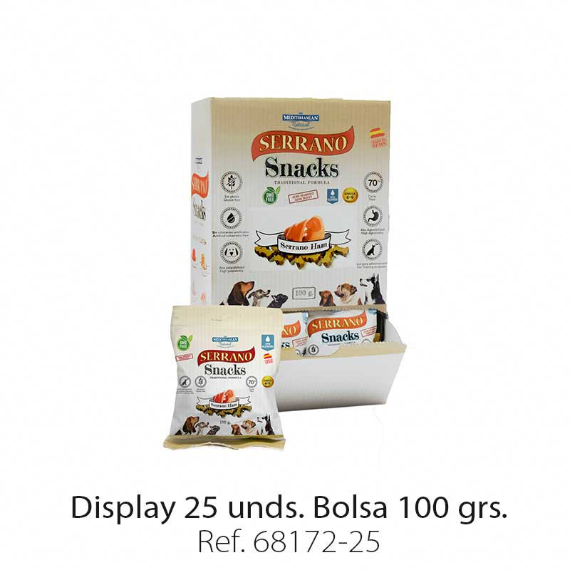 Display 25 bolsas Serrano Snacks jamón para perros Mediterranean Natural