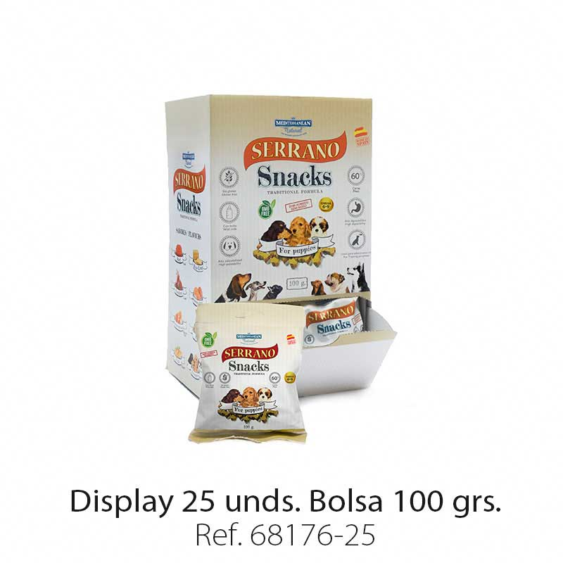 Display 25 bolsas Serrano Snacks para cachorros Mediterranean Natural