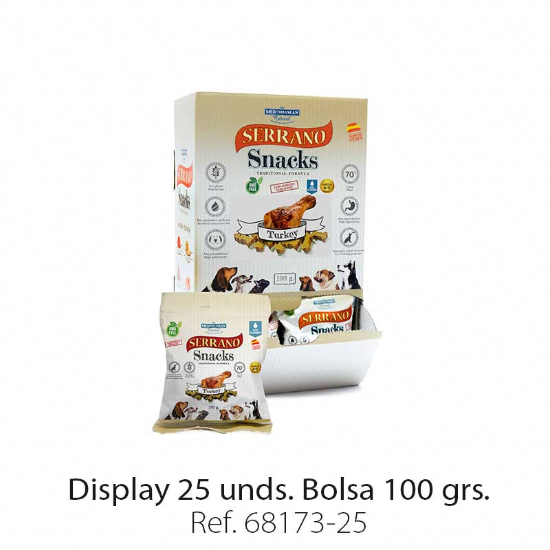 Display 25 bolsas Serrano Snacks pavo para perros Mediterranean Natural