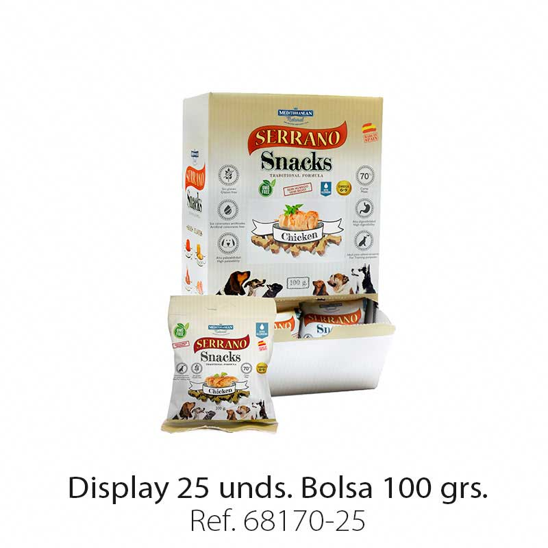 Display 25 bolsas Serrano Snacks pollo para perros Mediterranean Natural