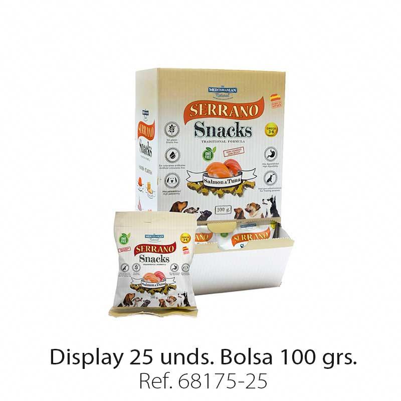 Display 25 bolsas Serrano Snacks salmón y atún para perros Mediterranean Natural