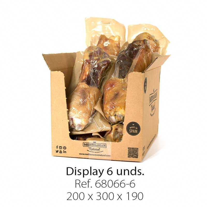 Display 6 unidades codillo de jamón serrano Mediterranean Natural para perros
