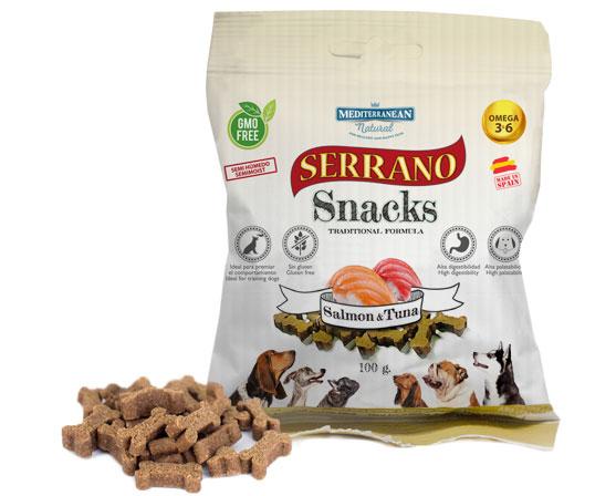 Serrano Snacks salmón y atún para perros de Mediterranean Natural