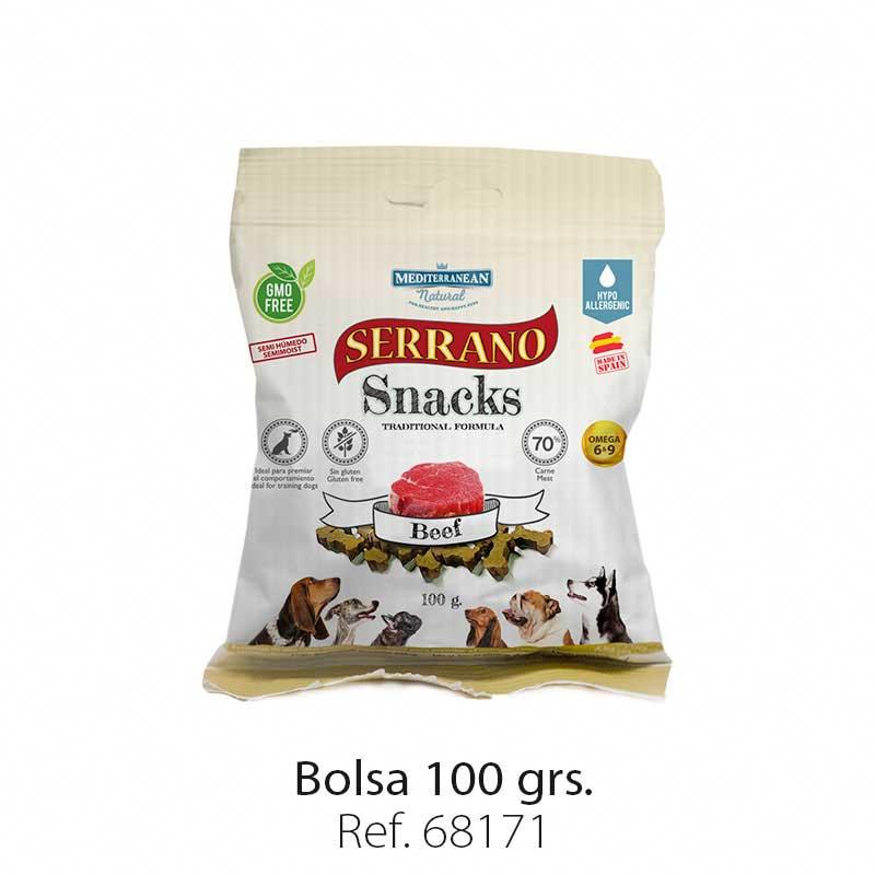 Serrano Snacks semi húmedos para perros buey