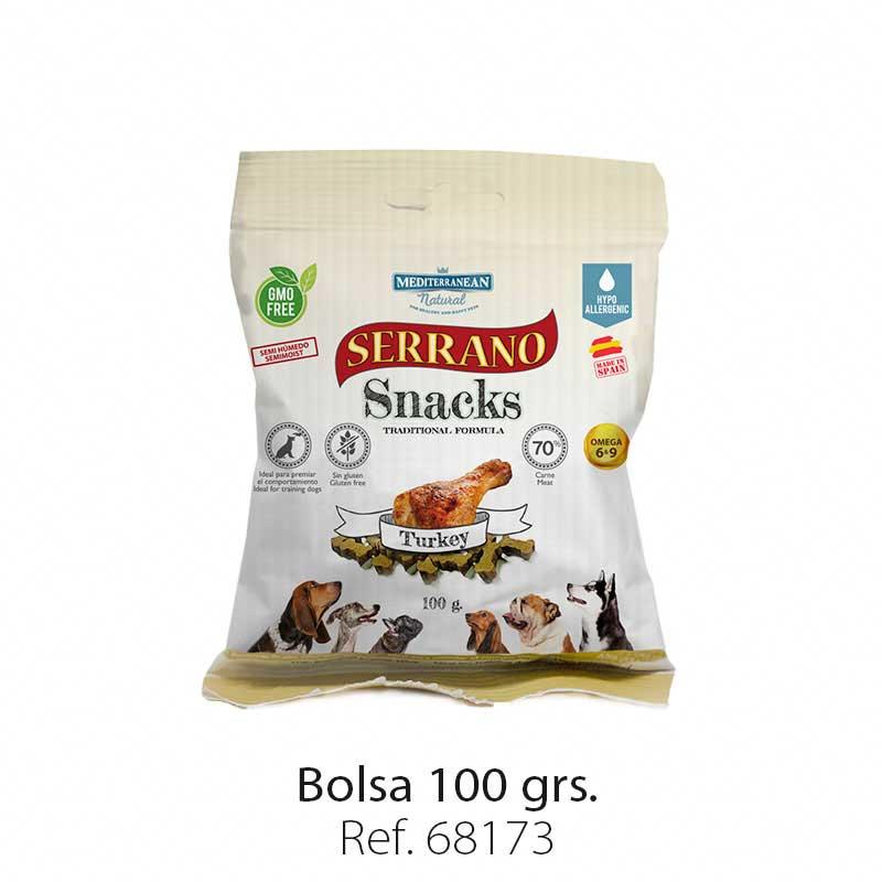 Serrano Snacks semi húmedos para perros pavo