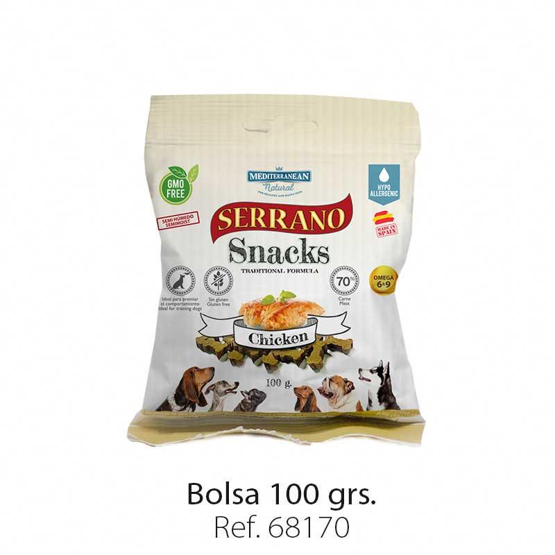 Serrano Snacks semi húmedos para perros pollo