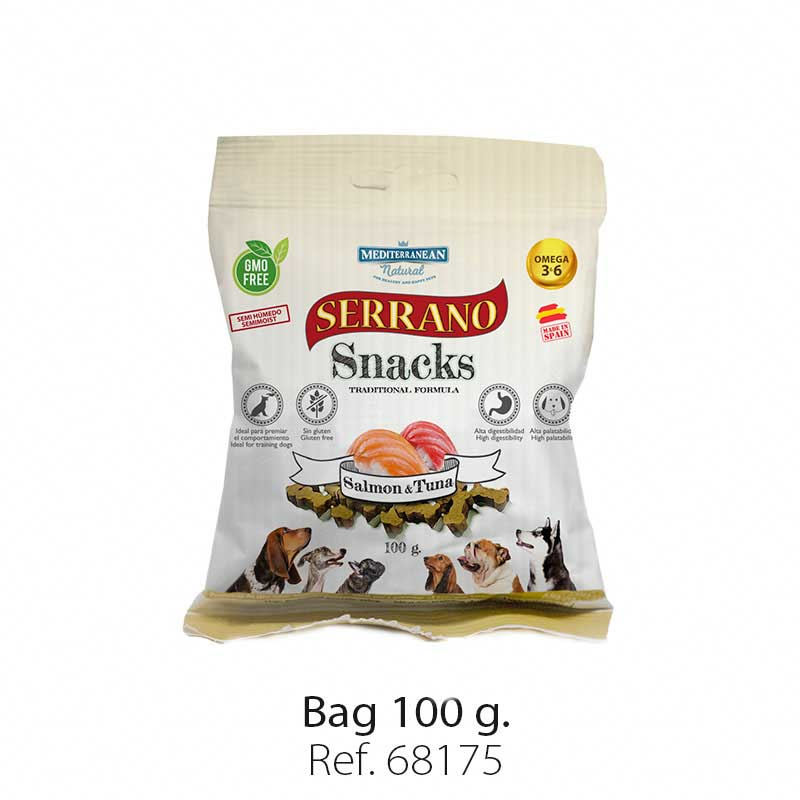 Serrano Snacks semi moist for dogs salmon and tuna