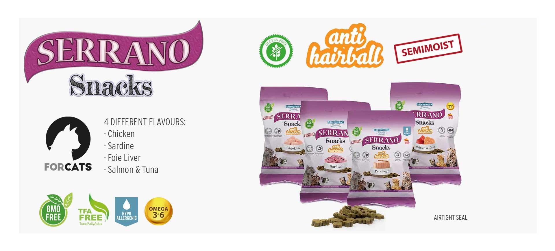 Serrano Snacks for cats. Mediterranean Natural