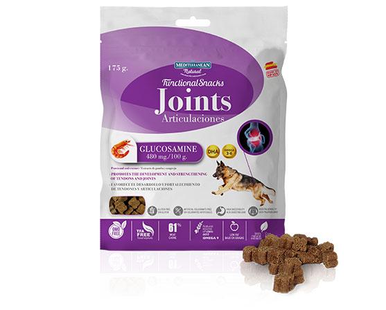 Snacks funcionales para perros con glucosamina de Mediterranean Natural