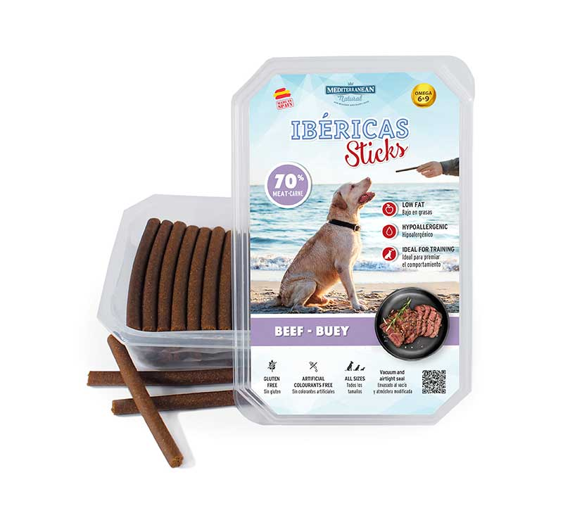 Estuche Ibericas Sticks 800 gramos Buey Mediterranean Natural Para Perros