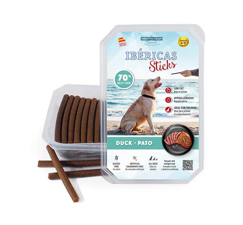Estuche Ibericas Sticks 800 gramos Pato Mediterranean Natural Para Perros