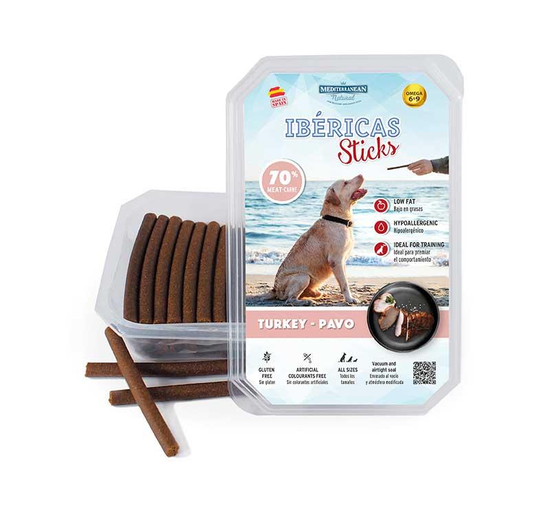 Estuche Ibericas Sticks 800 gramos Pavo Mediterranean Natural Para Perros