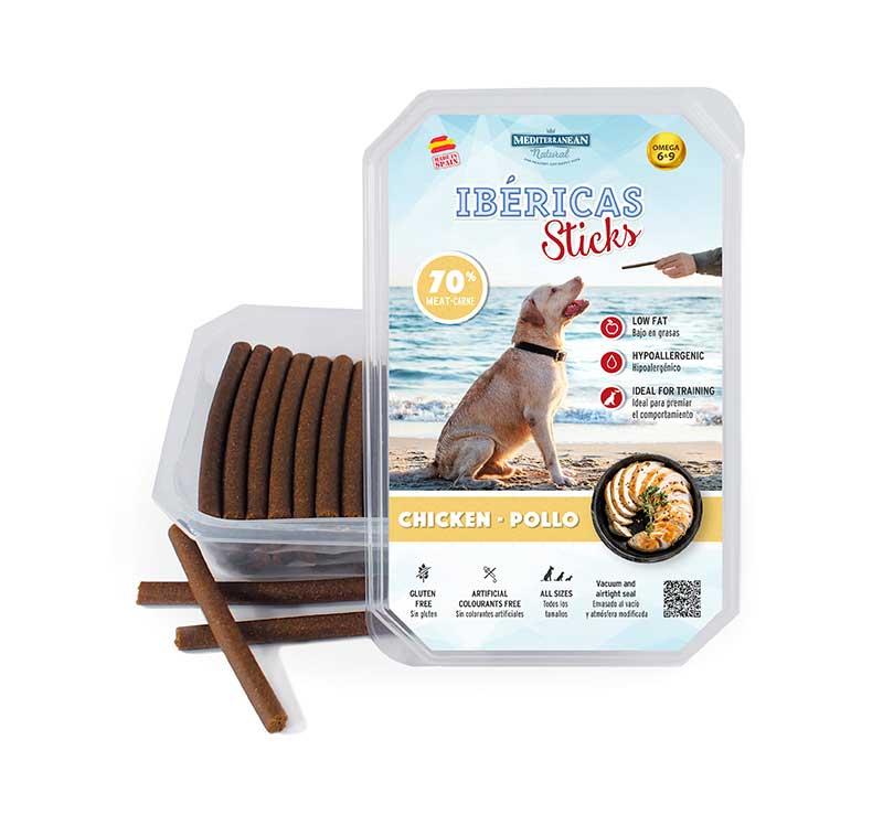 Estuche Ibericas Sticks 800 gramos Pollo Mediterranean Natural Para Perros