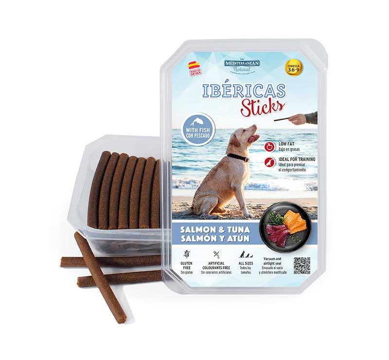 Estuche Ibericas Sticks 800 gramos Salmon Atun Mediterranean Natural Para Perros