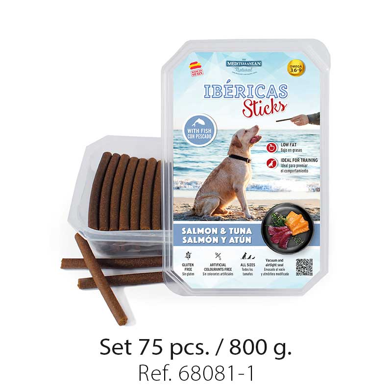 Set 800 gramos Ibericas Sticks Salmon and Tuna Mediterranean Natural For Dogs 1