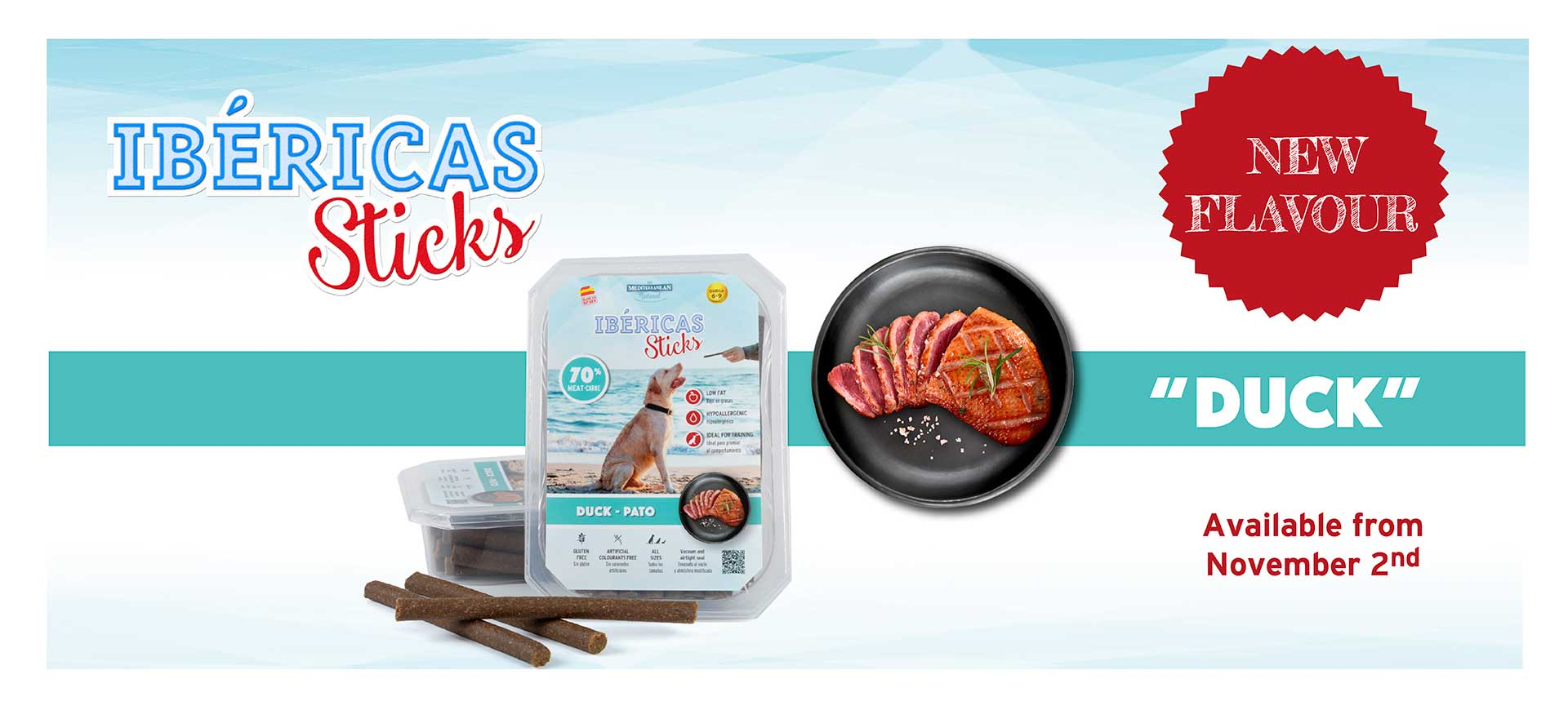 Banner new Ibéricas Sticks duck for dogs Mediterranean Natural