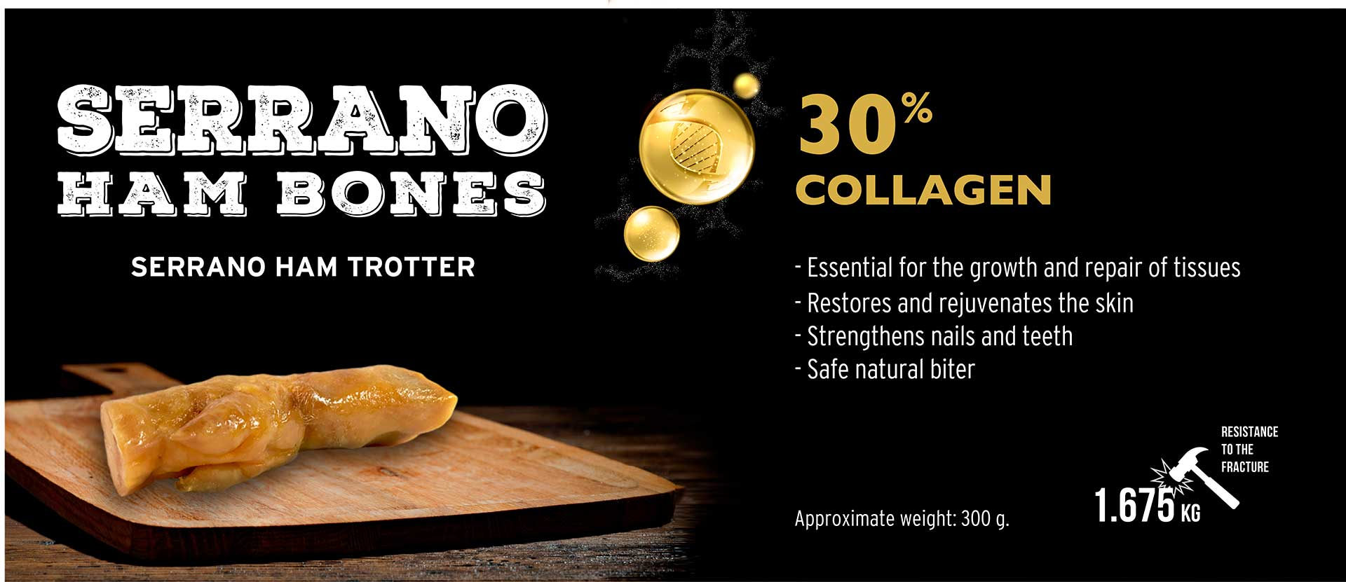 Banner Serrano Ham Trotter for dogs collagen Mediterranean Natural