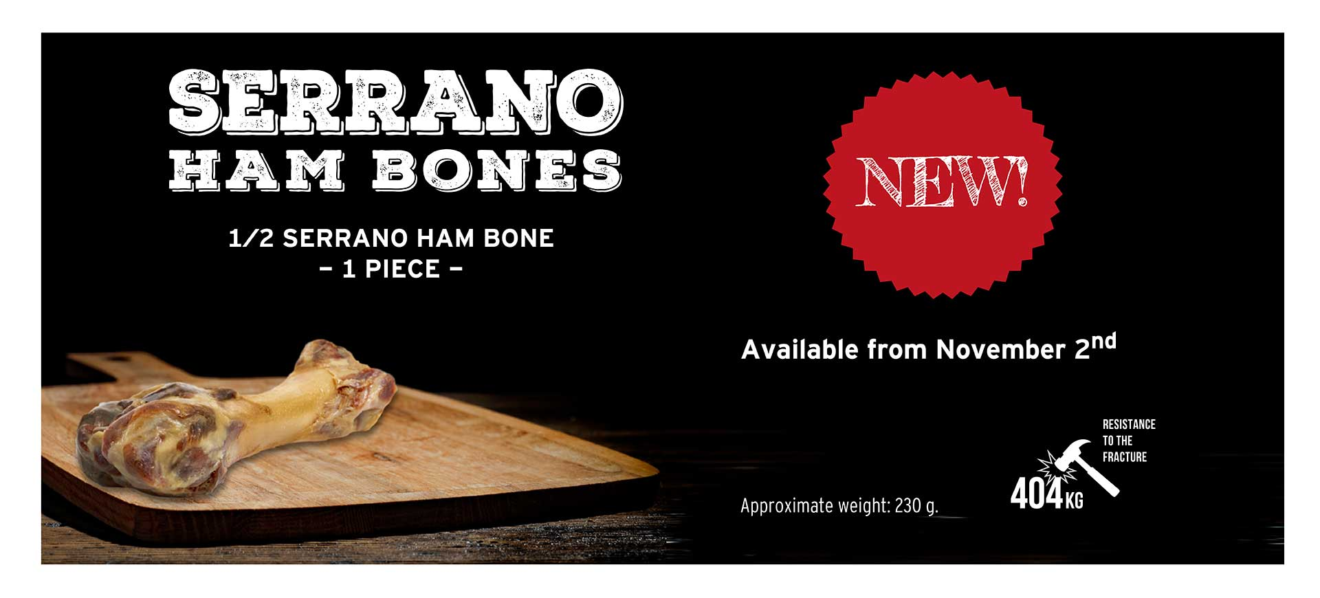 Banner new Serrano Ham Bone for dogs Mediterranean Natural