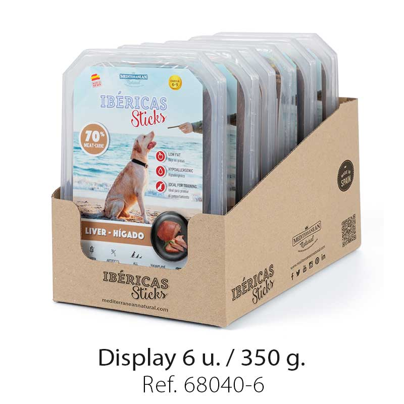 Display Ibericas Sticks Liver 350g Mediterranean Natural For Dogs