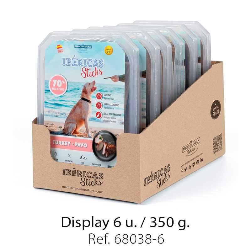 Display Ibericas Sticks Turkey 350g Mediterranean Natural For Dogs