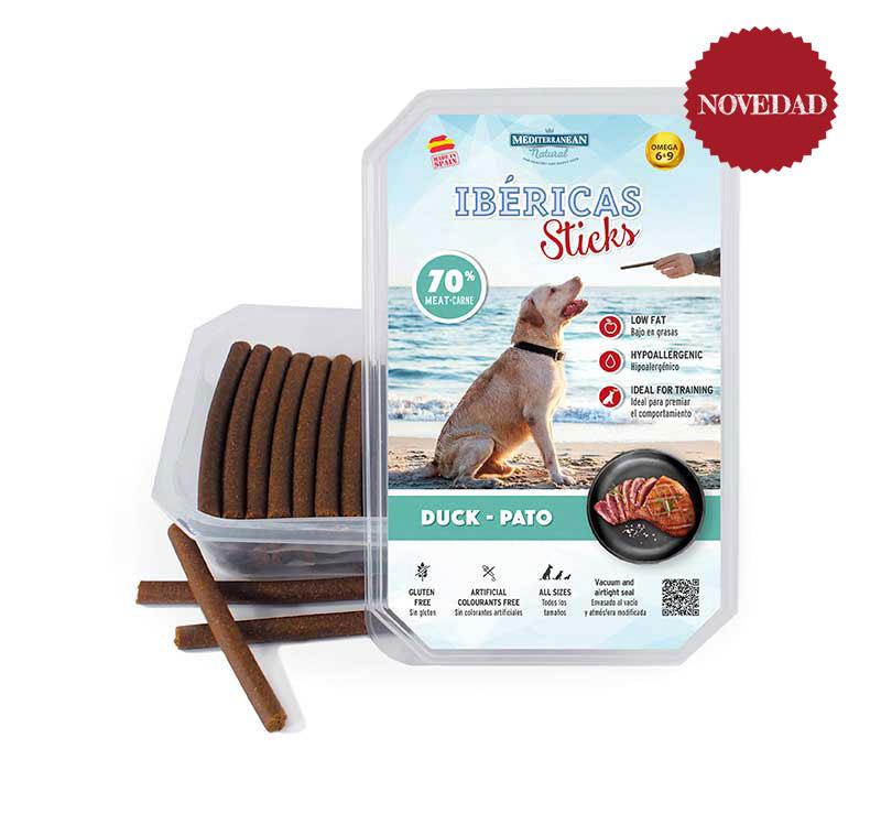 Estuche Ibéricas Sticks 800 gramos pato Mediterranean Natural para perros. Novedad