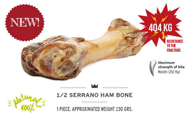 Serrano half Ham Bone banner Mediterranean Natural for dogs. New