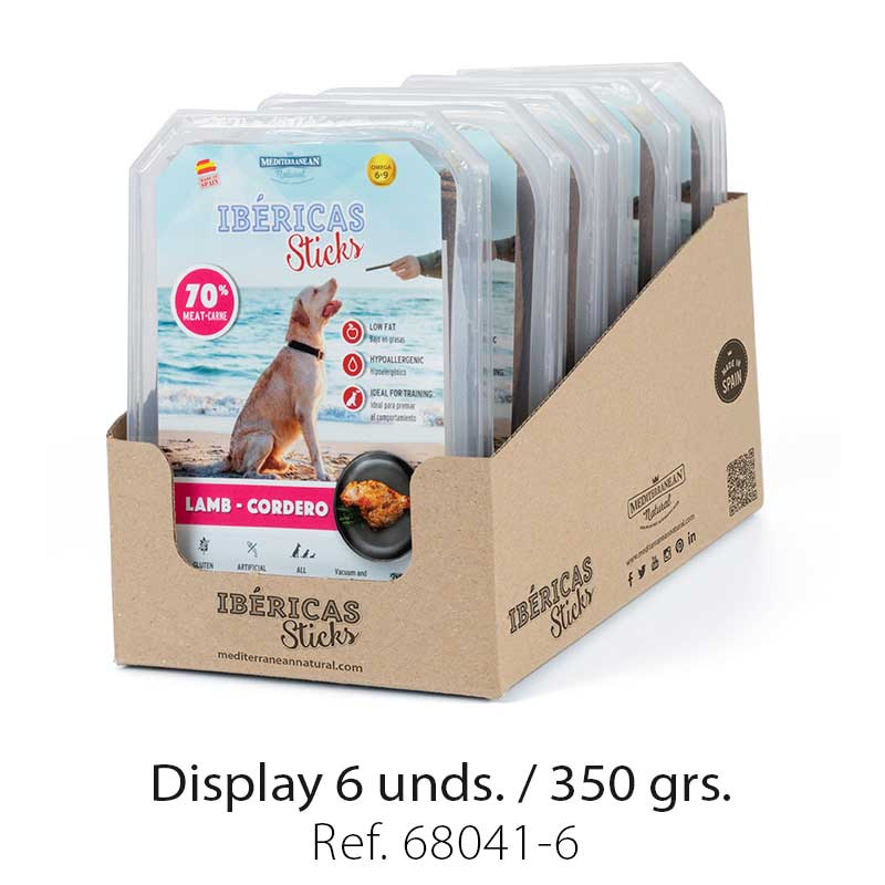 display ibericas sticks cordero 350g mediterranean natural para perros