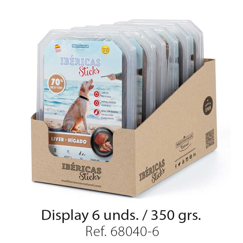 display ibericas sticks higado 350g mediterranean natural para perros