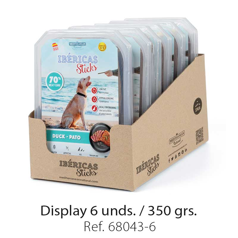 display ibericas sticks pato 350g mediterranean natural para perros