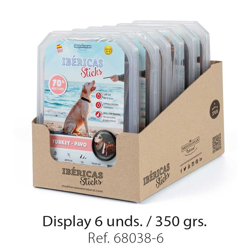 display ibericas sticks pavo 350g mediterranean natural para perros