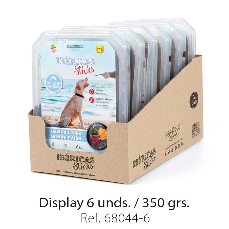display ibericas sticks salmon y atun 350g mediterranean natural para perros
