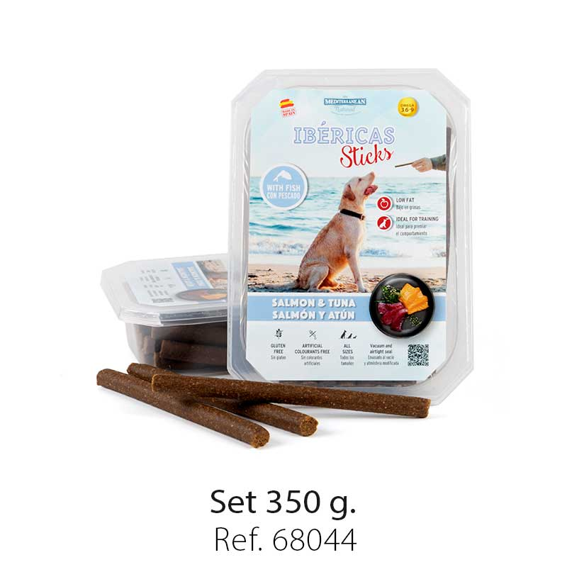 set ibericas sticks salmon and tuna 350g mediterranean natural for dogs