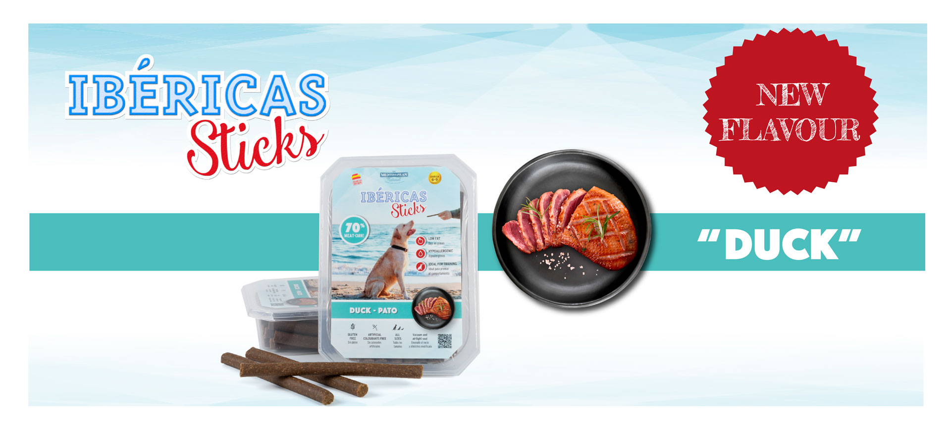 New Ibericas Sticks of duck for dogs Mediterranean Natural