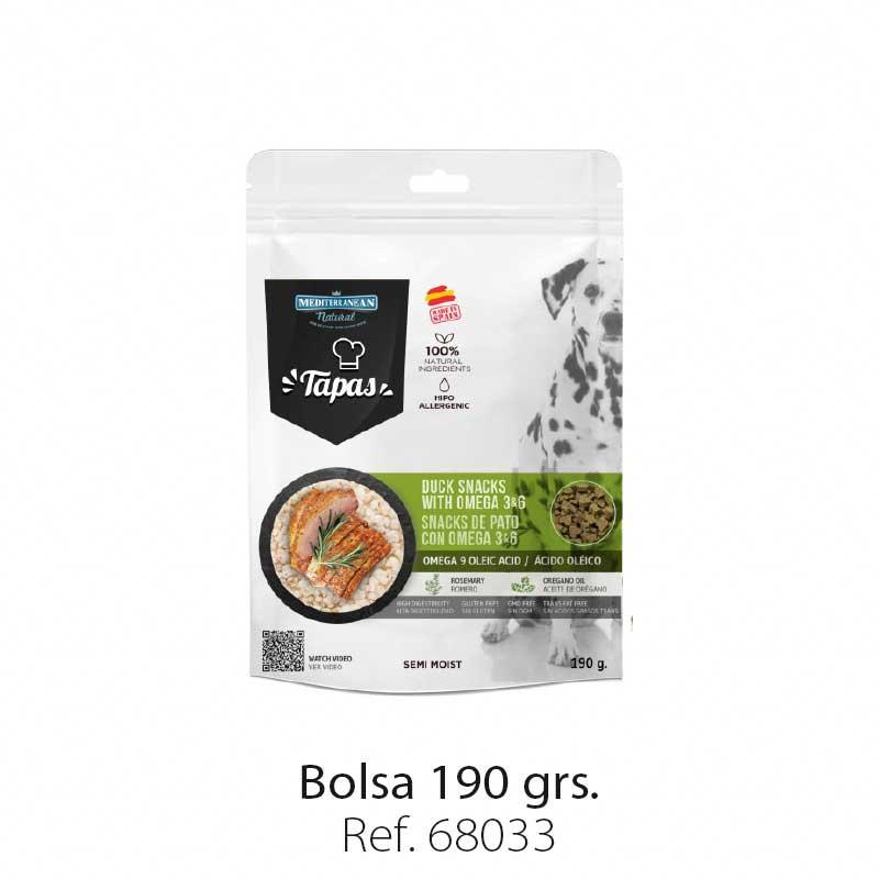 Bolsa snacks Tapas Mediterranean Natural para perros pato nuevo