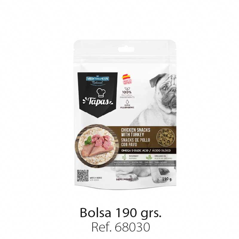 Bolsa snacks Tapas Mediterranean Natural para perros pollo y pavo