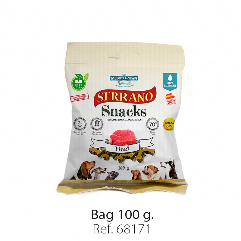 Serrano Snacks for dogs, beef bag, Mediterranean Natural