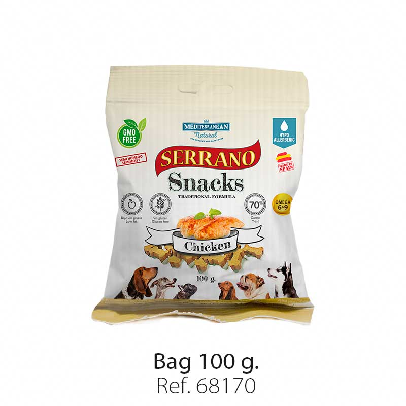 Serrano Snacks for dogs, chicken bag, Mediterranean Natural