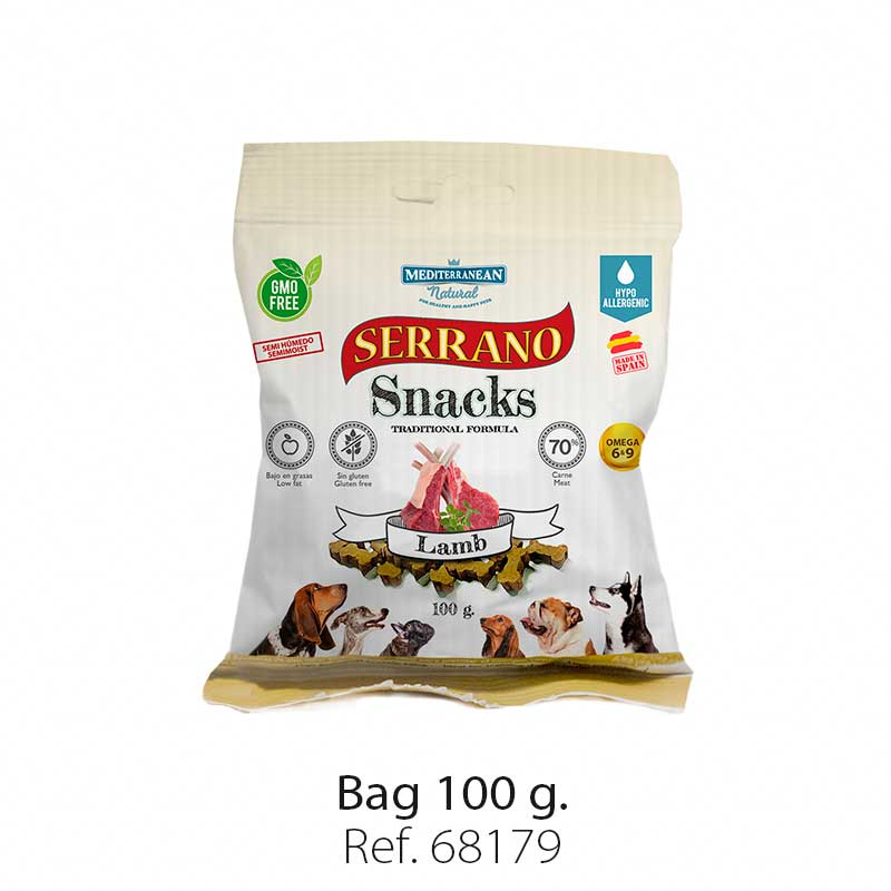 Serrano Snacks for dogs, lamb bag, Mediterranean Natural