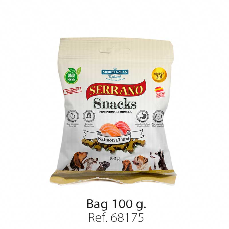 Serrano Snacks for dogs, salmon and tuna bag, Mediterranean Natural