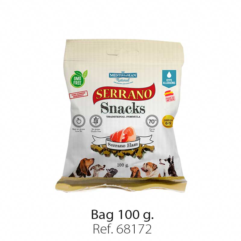 Serrano Snacks for dogs, serrano ham bag, Mediterranean Natura