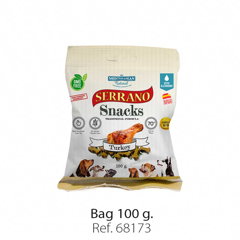 Serrano Snacks for dogs, turkey bag, Mediterranean Natural
