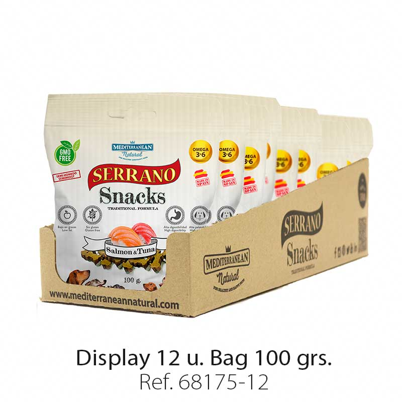 Serrano Snacks for dogs, display 12 bags, salmon and tuna, Mediterranean Natural