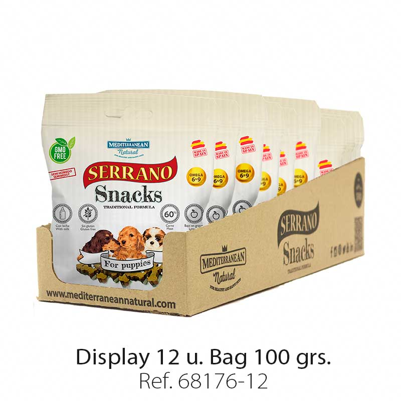 Serrano Snacks for puppies, display 12 bags, Mediterranean Natural