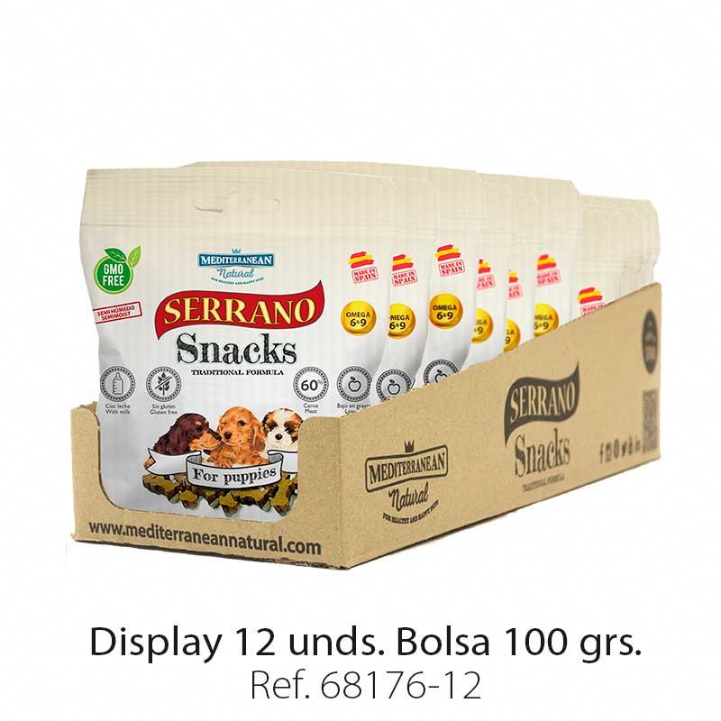 Serrano Snacks para cachorros, display 12 bolsas, Mediterranean Natural