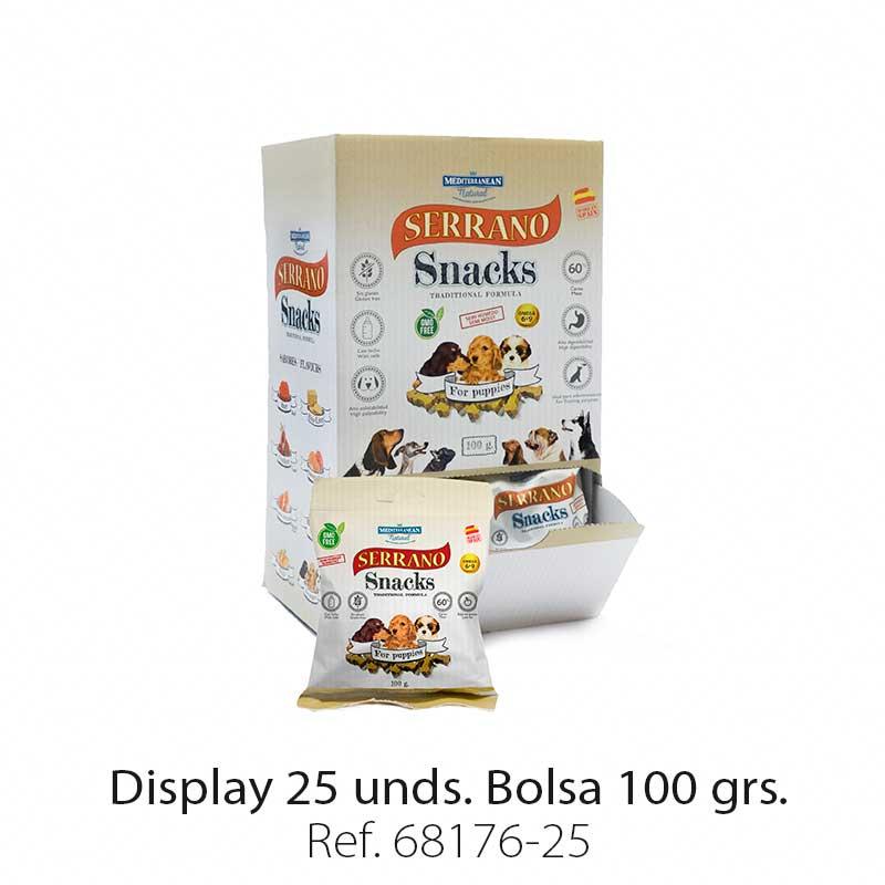 Serrano Snacks para cachorros, display 25 bolsas, Mediterranean Natural