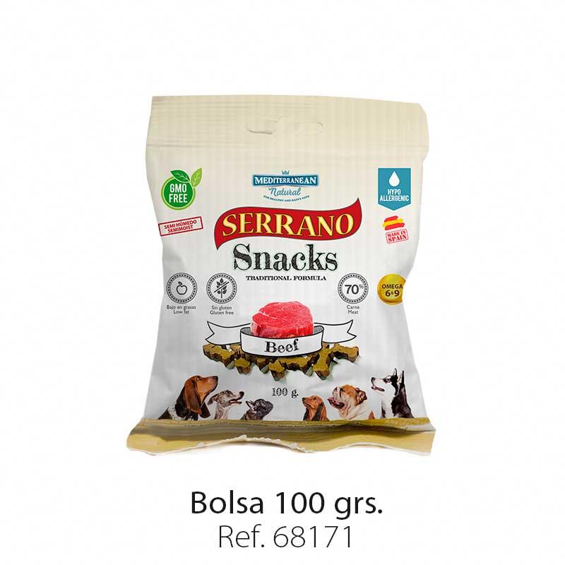 Serrano Snacks para perros, bolsa de buey, Mediterranean Natural