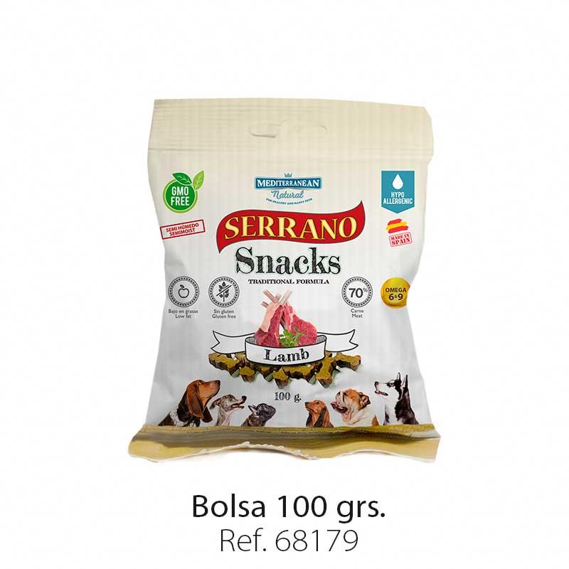 Serrano Snacks para perros, bolsa de cordero, Mediterranean Natural